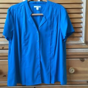 Dana Buchman short sleeve blue Top, Size XL